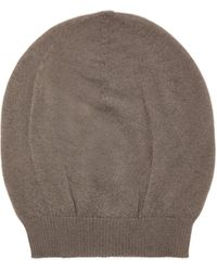 Rick Owens Ribbed-edge Cashmere Beanie Hat - Gray