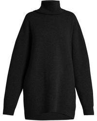 Raey Displaced-sleeve Roll-neck Wool Sweater - Black