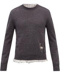 Maison Margiela ダメージ ハイブリッドシャツセーター - グレー