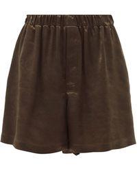 Bottega Veneta High-rise Satin Shorts - Brown