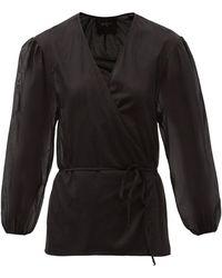 Loup Charmant Eloise Balloon-sleeve Organic-cotton Wrap Blouse - Black