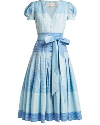 Carolina Herrera - Stripe Jacquard Panelled Dress - Lyst