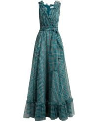 Luisa Beccaria - Houndstooth Print Silk Chiffon Gown - Lyst