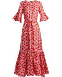 La Doublej Editions - Curly Swing Floral-print Silk Maxi Dress - Lyst