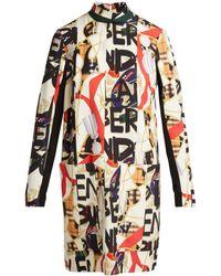 Black Burberry Dress Georgette Floral Silk Lyst White Shift nfY1ZwYdq