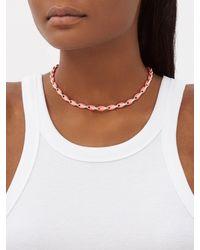 Melissa Kaye Collier en or rose, diamants et émail Ada - Multicolore