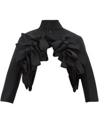 Noir Kei Ninomiya Bow-trim Cropped Wool-twill Jacket - Black