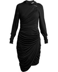 Preen By Thornton Bregazzi Alex ジョーゼット シャーリングミディドレス - ブラック