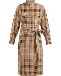 Burberry Vintage Check Silk Tie-waist Shirt Dress - Natural