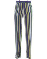 Kenneth Ize Striped Aso-oke Trousers - Blue