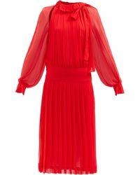 Victoria Beckham ローウエスト シルクジョーゼットドレス - レッド