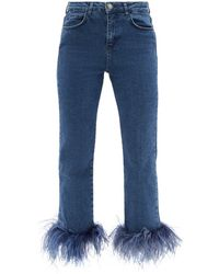 16Arlington フェザートリム クロップドジーンズ - ブルー