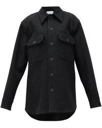Raey オーバーサイズ ウール シャツジャケット - ブラック