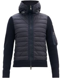 Moncler Down-quilted Wool-blend Hooded Cardigan - Blue