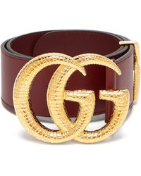 Gucci Gg Snakeskin-effect Logo Wide Leather Belt - Multicolour