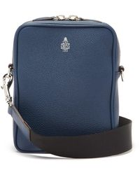 Mark Cross Scott Grained-leather Cross-body Bag - Blue