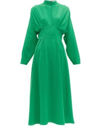Emilia Wickstead Autumn Pleated High Neck Crepe Midi Dress - Green