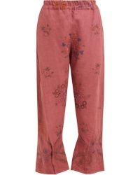 By Walid Reyzi Floral Embroidered Linen Trousers