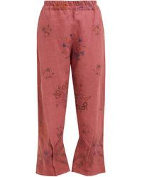 By Walid Reyzi Floral-embroidered Linen Trousers