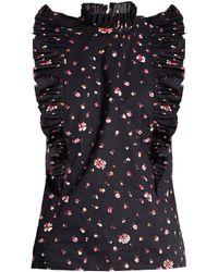 Rebecca Taylor - Mia Floral-print Ruffled-collar Cotton Top - Lyst