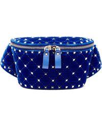 Valentino - Rockstud Spike Quilted Velvet Belt Bag - Lyst