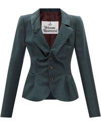 Vivienne Westwood ドランケン テイラー ウールツイルスーツジャケット - グリーン
