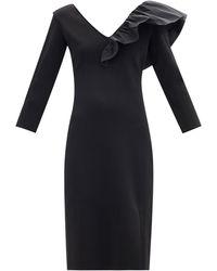 Givenchy ラッフルvネック リブジャージードレス - ブラック
