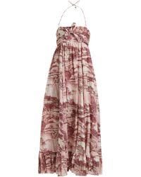 59d16f20f4 Zimmermann Kali Floral Print Tie Waist Linen Shirtdress in Blue - Lyst
