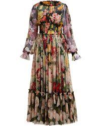 Dolce & Gabbana Rose And Hydrangea-print Silk-georgette Gown - Multicolour