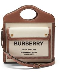 Burberry ポケット ミニ レザートリム キャンバスバッグ - ブラウン