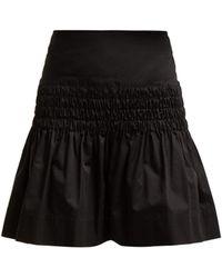 Étoile Isabel Marant Oliko Smocked Cotton Poplin Skirt - Black