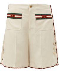 Gucci Web-stripe Slubbed-canvas Shorts - Natural