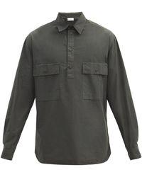Raey Half-placket Patch-pocket Cotton Shirt - Green