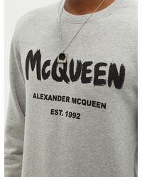 Alexander McQueen グラフィティロゴ コットンスウェットシャツ - グレー