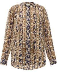 Étoile Isabel Marant Blouse en voile de coton à bandes fleuries Mexika - Multicolore