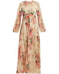 Zimmermann - Laelia Floral-print Linen Dress - Lyst
