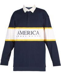Perry Ellis - Striped Logo Print Cotton Polo Shirt - Lyst