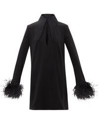 16Arlington ミシェル フェザートリム クレープミニドレス - ブラック
