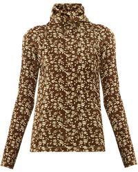 Dodo Bar Or Brenda Roll-neck Floral-print Velour Sweater - Multicolor