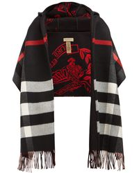 Burberry Hooded Checked Intarsia Wool And Cashmere-blend Scarf - Black