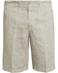 120% Lino - Mid-rise Slim-leg Striped Linen Shorts - Lyst
