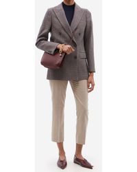 Officine Generale Manon Double-breasted Houndstooth Wool Blazer - Brown