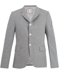 Moncler Gamme Bleu Single-breasted Cotton Blazer - Gray