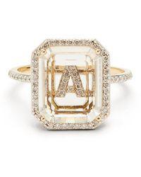Mateo Bague or 14 carats, quartz, diamants Initials A-I - Multicolore