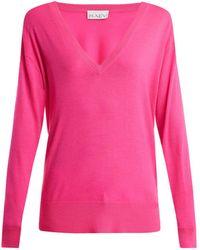 Raey - V-neck Fine-knit Cashmere Sweater - Lyst