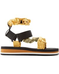 MIDNIGHT 00 Ruched Satin And Foam Sandals - Green