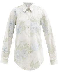Acne Studios - Sophie Floral-print Striped Cotton-blend Shirt - Lyst