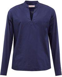Orlebar Brown オリオン Vネック スタンドカラー コットンシャツ - ブルー