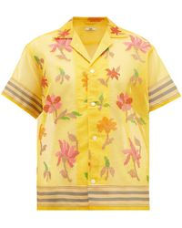 Bode Floral-embroidered Cotton-blend Shirt - Yellow