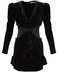 Alessandra Rich レーストリム Vネック ベルベットミニドレス - ブラック